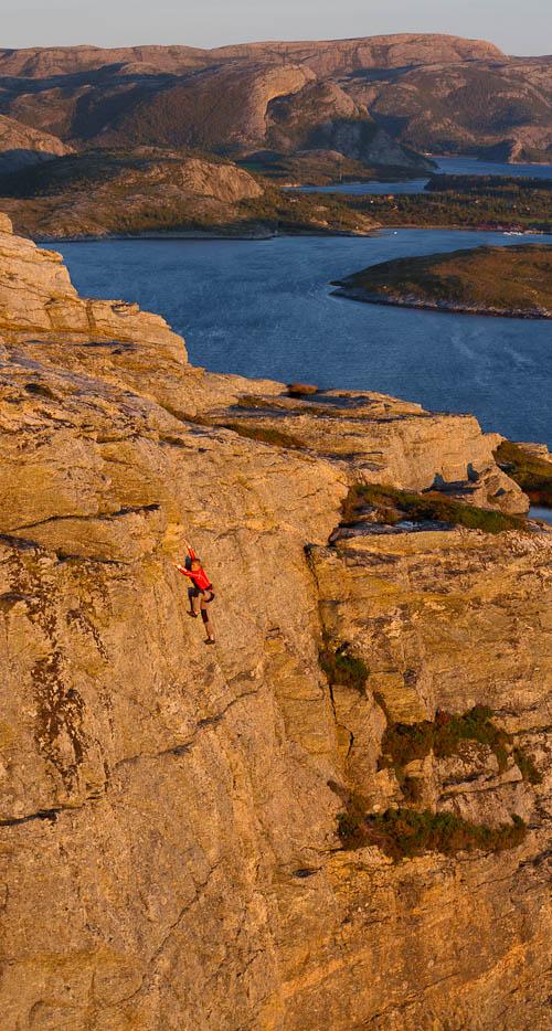 Climbing on the island Halmöya in Norway
